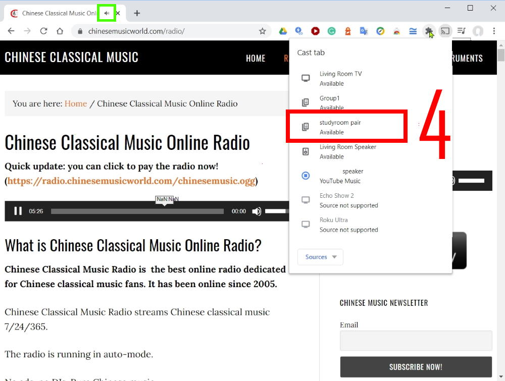Method 1: Cast Chinese music radio through Chrome browser on your PC/laptop or Chromebook: select Chromecast devices