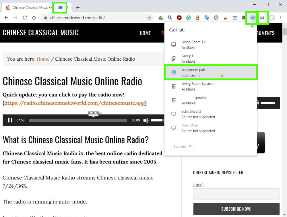 Method 1: Cast Chinese music radio through Chrome browser on your PC/laptop or Chromebook: casting and stop casting